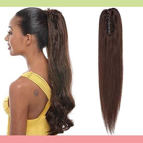Silk-co Pferdeschwanz Extensions Echthaar Haarteile Echthaar Glatt Zopf Haarverlängerung Claw Haarteil 100% Human Hair Extension mit Klammer 55cm-120g 02# Dunkelbraun