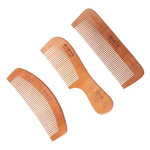 Frcolor 3PCS Peach Holzkämme Geschnitzt Tasche Holzkamm natürliche Pfirsich Holz Anti-Statik-Massage Kämme (Half Moon, Square und Griff Form)