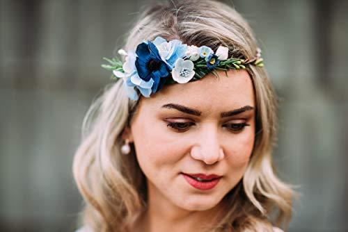 10-02 Blumenkranz Blüten Haarschmuck Braut Hochzeit wedding Hairdress Boho Vintage Diadem Brautkleid Perlen flowers in the hair
