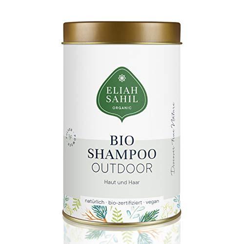 BIO Outdoor Shampoo von ELIAH SAHIL Pulvershampoo für Haut und Haar 100 Gramm - 100% Bio zertifizierte Naturkosmetik - Vegan - Hair & Body für Damen und Herren