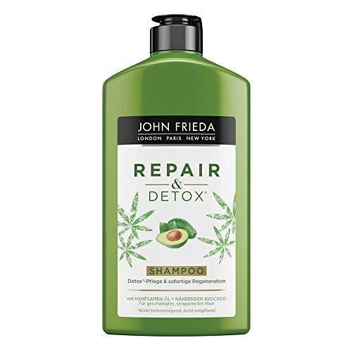 John Frieda Repair & Detox* Shampoo - Mit Hanfsamen-Öl + nährender Avocado - Für Strapaziertes Haar (1x 250 ml)