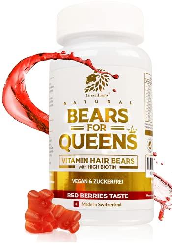 GREENLIONS® BEARS FOR QUEENS - Biotin Gummibärchen OHNE Zucker für Haut Haare Nägel - SCHWEIZER QUALITÄT - Haar Vitamine - 12 Vitamine - Zink (10mg), Vitamin C (80mg), D3-100% Vegan - Laborgeprüft