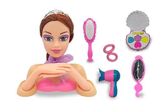 Jamara 460619 Frisierkopf Emma Beauty-8-teiliges Set, Coole Trendfrisuren ausprobieren, strapazierfähige Haare, fördert Fantastische Rollenspiele, Inklusive Haarzubehör