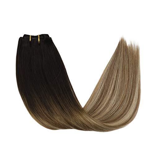 YoungSee Echthaar Extensions Clip in Remy Ombre Dunkelstes Braun bis Mittelbraun mit Blond Glatt Balayage Clip in Haarverlängerung Voller Kopfsatz 7pcs/120g 14Zoll/35cm