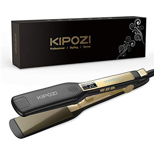 KIPOZI Profi Glätteisen Haarglätter Ionen Technologie mit 4.5cm extra breiten Platten und digitalem LCD-Display Dual Spannung,Schwarz