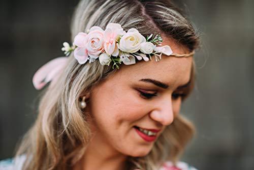 10-04 Blumenkranz Blüten Haarschmuck Braut Hochzeit wedding Hairdress Boho Vintage Diadem Brautkleid Perlen flowers in the hair