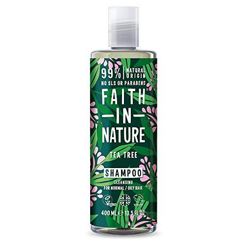 Faith in Nature Natürliches Teebaum Shampoo, Vegan & Ohne Tierversuche, Frei von Parabenen und SLS, für Normales bis Öliges Haar, 400 ml