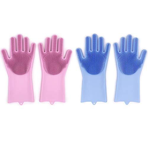 2 Paar Magische Silikon-Handschuhe mit Wash Scrubber , wiederverwendbare Bürste hitzebeständige Handschuhe Küche Werkzeug für die Reinigung, Haushalt, Geschirrspülen, das Auto waschen, Pet Haarpflege