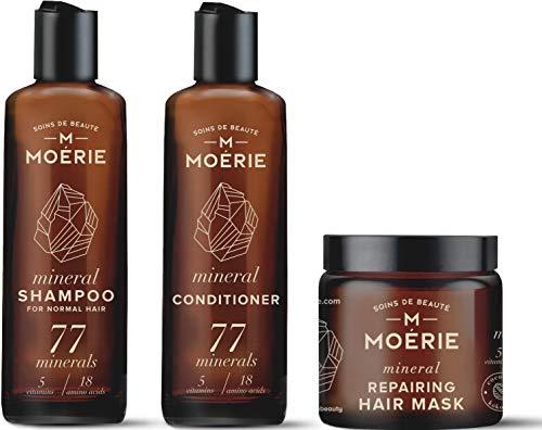 Moerie Mineralstoff-Shampoo Und Conditioner Plus Haarmasken-Paket – Das Ultimative Haarpflegeset – Für Längeres, Dichteres, Volleres Haar - Vegane Haarprodukte – Parabenfreie Hairprodukte