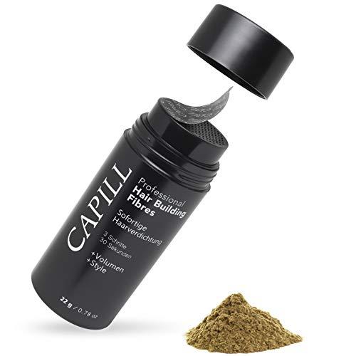 Capill Schütthaar für lichtes Haar - Haarverdichtung mit Streuhaar für Geheimratsecken - Hair fibers gegen Haarausfall - 22g (Dunkelblond)