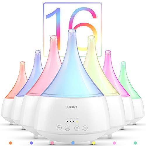 Aroma Diffuser 300ml Luftbefeuchter Ultraschall Humidifier Raumbefeuchter LED Nachtlicht mit 16 Farben, 4 Zeitmodi 2 Nebelmodi für Schlaf- oder Kinderzimmer usw. von ELEHOT (weiß)