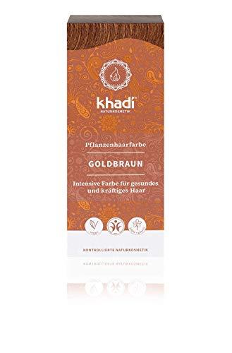 khadi Pflanzenhaarfarbe Goldbraun I Haarfarbe für glänzendes und goldenes Braun I Naturhaarfarbe 100% pflanzlich & vegan I Zertifizierte Naturkosmetik I 100g
