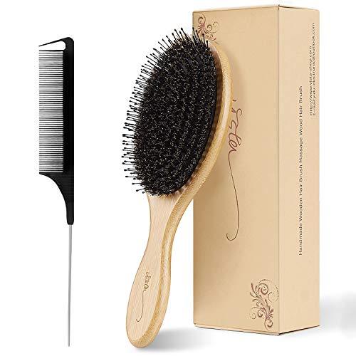 Haarbürste Natürliche Wildschweinborsten Bürste Haare Rundbürste Set Antistatische Bambus Stylingbürste Naturhaarbürste mit Schwanzkamm für alle Haartypen und Länge Kammset für Männer, Frauen, Kinder