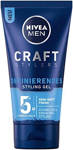 Nivea Men Craft Stylers Definierendes Styling Gel, Haargel mit Semi-matt Finish, schnelles und einfaches Haarstyling mit starkem Halt, 4er-Pack (4 x 150 ml)