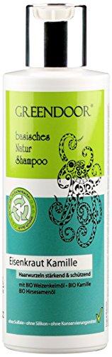 GREENDOOR Natur Shampoo Eisenkraut 200ml kraftloses Haar, ohne Sulfate/Silikon, basische Haarpflege + BIO Öle natürlich ohne Tierversuche, natural, biologisch abbaubar outdoor geeignet Naturkosmetik