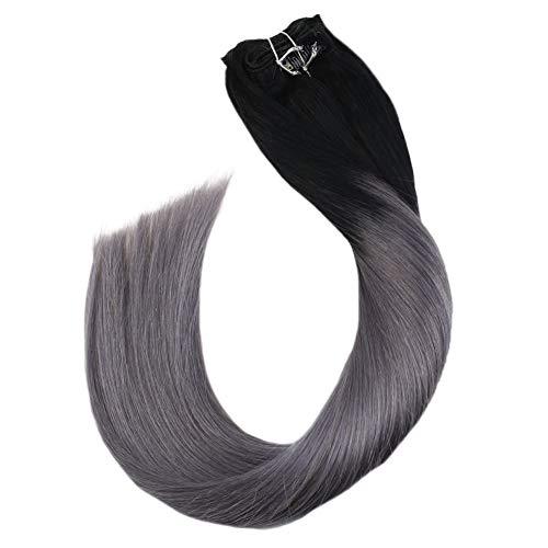 Ugeat Clip in Tressen Echthaar Ombre Schwarz zu Silber 22zoll Double Weft Extensions 100% Human Seamless Naturliche Haarverlangerung mit Clips fur Komplette 7PCS 100Gramm/Paket