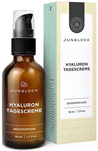 'Junglück Tagescreme mit Hyaluron & Arganöl auf bio Aloe Vera Basis | 50 ml in Braunglas | Anti-Aging Feuchtigkeitscreme für Gesicht & Haut | Natürliche & nachhaltige Kosmetik made in Germany'