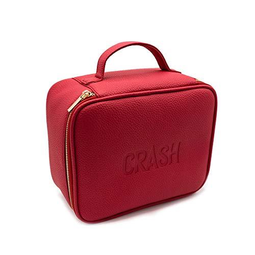 Crash Cosmetics Full Face Bag Kosmetiktasche in Rot zum Aufhängen, aus Kunstleder, Make-up Tasche Organizer, Verschiedene Fächer