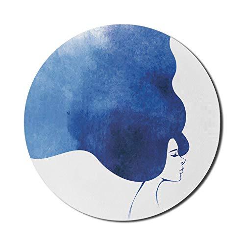 Face Mouse Pad für Computer, Aquarell Porträt einer Frau mit Ombre Haar Mystical Design, rundes rutschfestes dickes Gummi Modern Gaming Mousepad, 8 'rund, dunkelblau weiß und blau