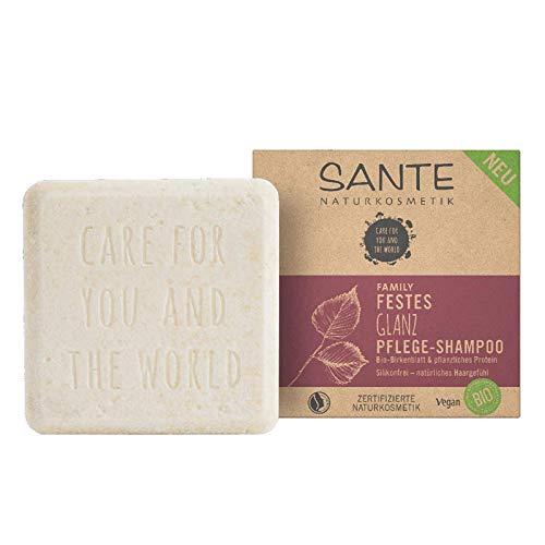 Festes Shampoo von SANTE Naturkosmetik, Glanz-Pflege Shampoo Bar mit Bio-Birkenblatt & pflanzlichem Protein, Für natürlich gesundes Haar, Wie eine Haarseife, Zertifiziert & Vegan, 60 g