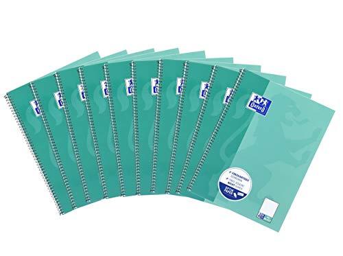 Oxford Collegeblock A4, mit 80 Blatt, dotted, punktkariert, grünblau, 10er Pack