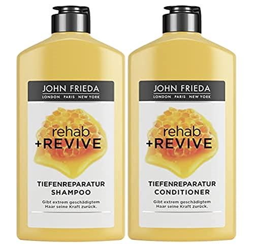 John Frieda Rehab + Revive - Shampoo und Conditioner - Vorteils-Set - Tiefenreparatur für extrem geschädigtes Haar - 250ml + 250ml, 500 ml