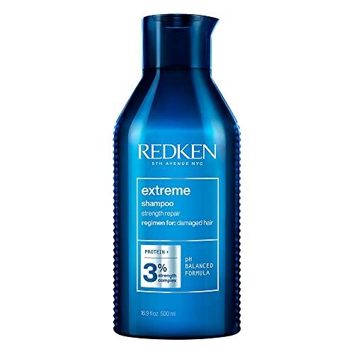 Redken Extreme Shampoo, Aufbaupflege für strapaziertes und trockenes Haar, Haarpflege mit Proteinen, stärkend und reparierend, Glanz-Shampoo für kräftiges Haar, 500 ml