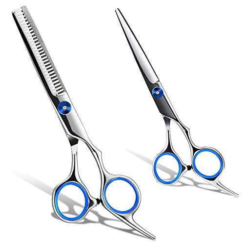 Haarschere Set, Roysmart Haarschneideschere, Extra scharfe Friseurschere, Licht Friseurscheren mit Einseitiger Mikroverzahnung, Perfekter Effilierschere für Damen und Herren (Blue)