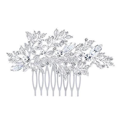 EVER FAITH Damen Haarkamm Österreichischer Kristall Simulierte Perle Hochzeit Blume Blatt Braut Haar Schmuck Klar Silber-Ton (stil3)