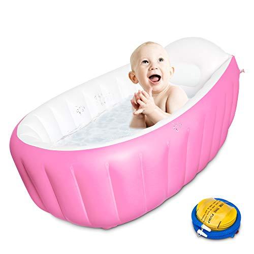 Uong Aufblasbare Baby Badewanne, Kinder Schwimmbad Faltbare Reisedusche Kid Kleinkind Reise Luftdusche Becken Planschbecken für Neugeborene 0-3 Jahre Baby (Rosa)