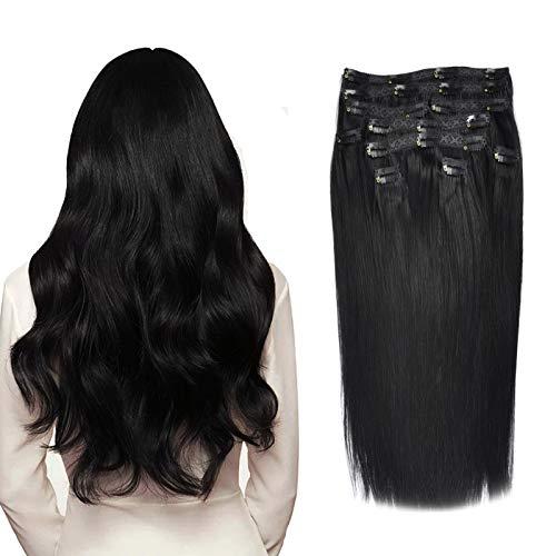 (35cm-55cm) Clip In Extensions 10 Teiliges SET 120g 100% Remy Echthaar für Komplette Haarverlängerung glatt Haarteile (1#, Schwarz, 35cm)