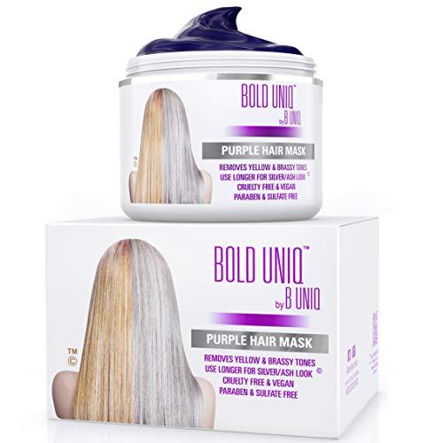 Der SIEGER 2019 - Silber Haarmaske für silbernes & blondiertes Haar – Purple Hair Mask BOLD UNIQ by B Uniq no yellow – intensive Haarpflege für trockenes, strapaziertes & geschädigtes Haar - 200 ml