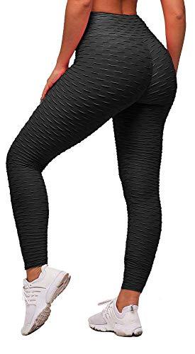 Memoryee Damen Honeycomb Leggings Geraffte Hintern Heben hohe Taille Yogahosen schick mit Sport Bauchkontrolle Kontrolle Gym/Schwarz/M