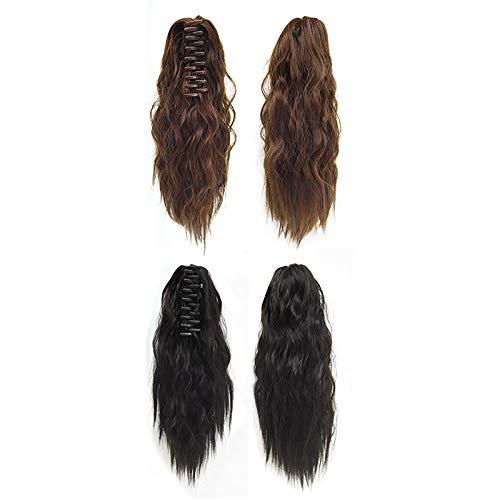 2 Stück gelockte Perücken, Pferdeschwanz, Perücke, Haarteil, Haarteil, halbe Perücke, Lockentyp, gute Textur