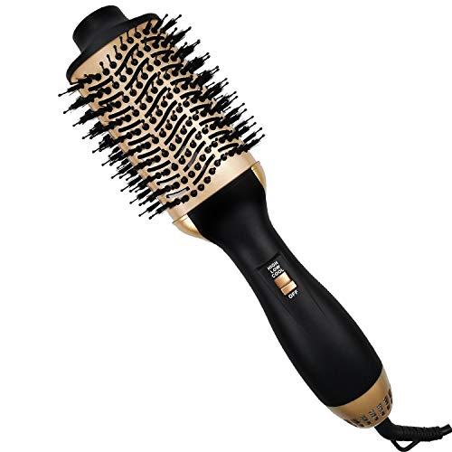 Haartrockner Warmluftbürste, Haartrocknerbürste, Haartrockner, Haarglätter, Kamm und Lockenstab 4-in-1-Upgrade Anti Verbrühungs Haartrocknerbürste mit glatten Locken und Negativionentechnologie