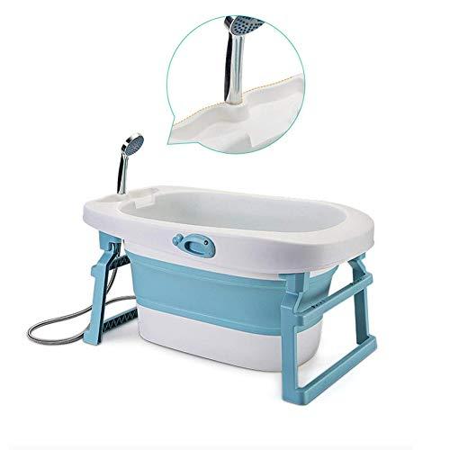 WRJ Whirlpool, Sprudel Spa & Dusche, Portable Safe Und Sturdy Zusammenklappbare Baby-Badewanne Becken Sitz Badewannen Große Größe Luftdusche,Blau