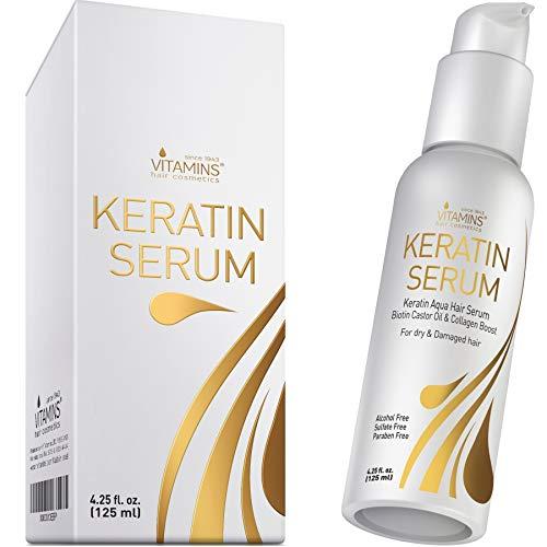 Vitamins Haar Serum Keratin Haarpflege - Biotin, Kollagen und Castor Oil Anti Frizz Haarserum - Kokosöl Hitzeschutz Finish Protein Treatment für kaputte trockene Haare