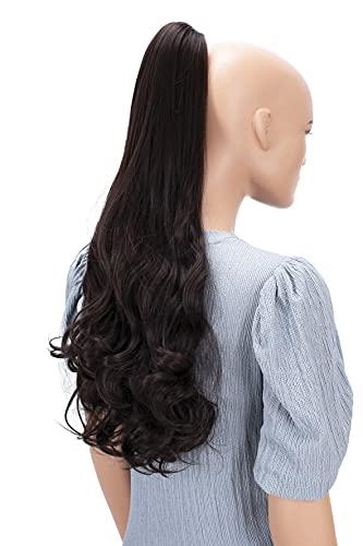 PRETTYSHOP 60cm Haarteil Zopf Pferdeschwanz Haarverlängerung Voluminös Gewellt Dunkelbraun H50
