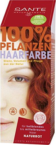 SANTE Naturkosmetik Pflanzen-Haarfarbe Pulver, Naturrot, 100 g