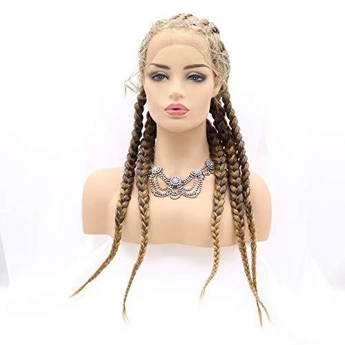 Xiweiya Braune gemischte blonde Zöpfe Perücke 5 blonde Box Braids Frisur mit Babyhaar Cornrow geflochtene Perücke mit blonden Spitzen 5 Häkelzöpfe X Pression Flechten Haar Perücke für Frauen …