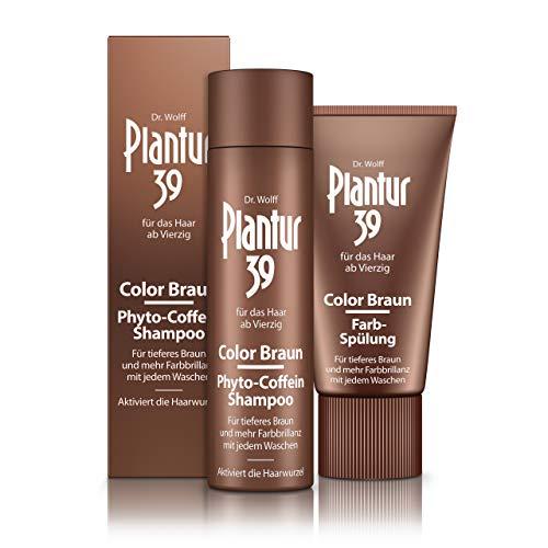 Plantur 39 Color Braun Phyto-Coffein-Shampoo & Color Braun Farb-Spülung im Set – für braunes Haar – kaschiert graue Haare und hellen Haaransatz – 1 x 250 ml / 1 x 150 ml