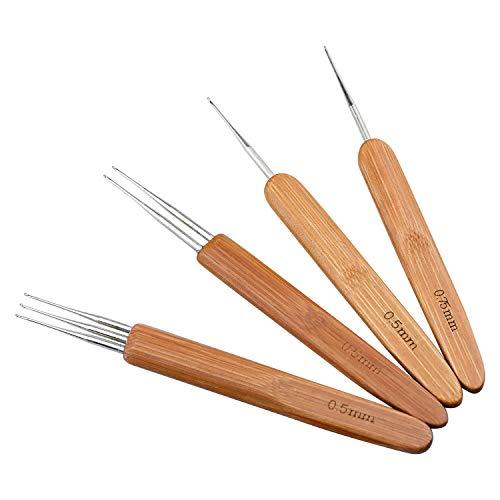 SANTOO 4 STK Häkelnadel Dreadlocks Set 0,5 mm 0,75 mm Dreads Häkelnadeln aus Bambus Dreadlock-Werkzeug für Flechten Weaving Twist Haarverlängerungen