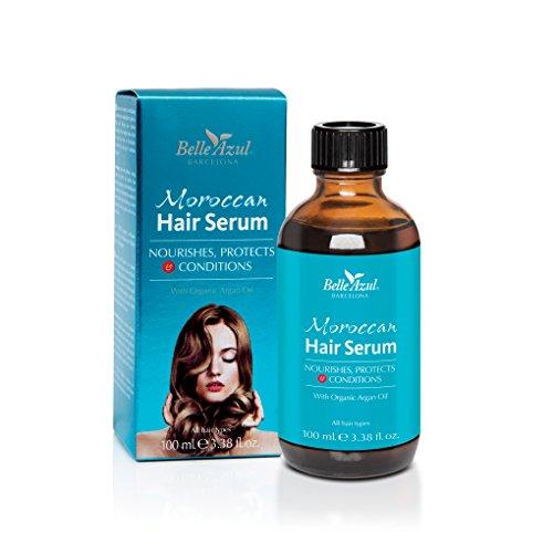 Belle Azul Marrokanisches Haaröl - NEW DESIGN - Haarserum mit marokkanischem Arganöl, Intensiv pflegendes Haaröl für trockene, strapazierte und kaputte Haare, Repariert, pflegt und verleiht selbst krausem Haar einen seidigen Glanz, Anti-Frizz und Hitzeschutz, Für alle Haartypen geeignet, Nicht fettend, Toller Duft, 100 ml.