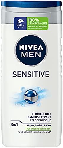 NIVEA MEN Sensitive Pflegedusche (250 ml), erfrischendes und pflegendes Duschgel mit Bambusmilch, feuchtigkeitsspendende Dusche für empfindliche Männerhaut