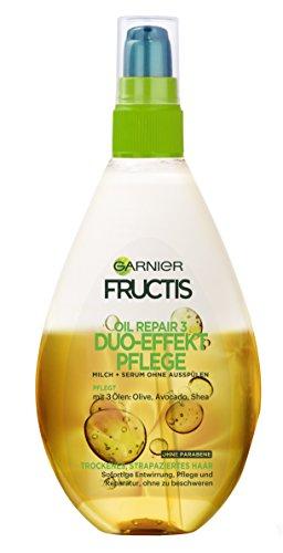 Garnier Fructis Oil Repair 3 Duo-Effekt-Pflege, Haarpflege für trockene Haare mit Olivenöl und Avocadoöl, Haaröl, 150ml