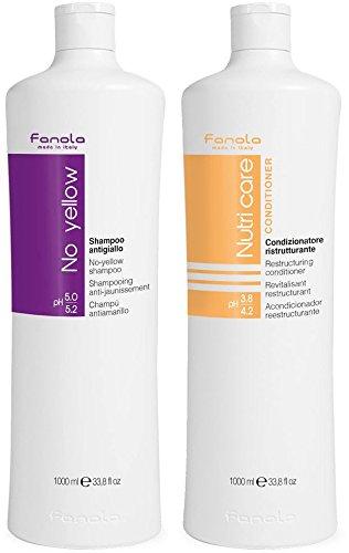 Fanola No Yellow Anti-Gelb-Shampoo + Nutri Care Conditioner - 2000 ml