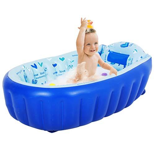 Baby Säuglings Reise Aufblasbare Anti-Rutsch Badewanne Kinder Faltbare Schwimmbad Becken Sitz Badewannen Große Größe Luftdusche (für 0-3 Jahre) - Blau