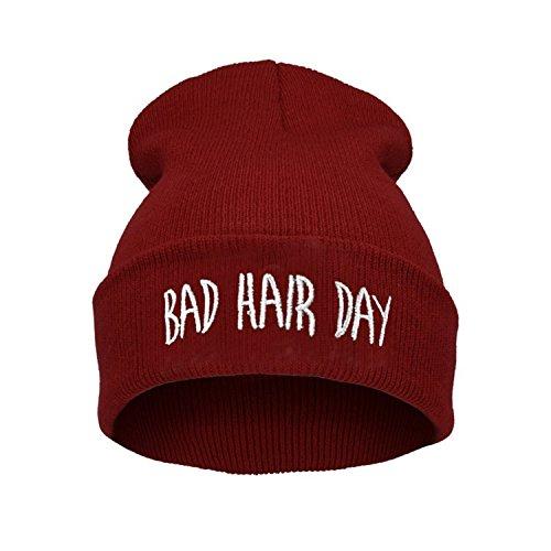 ELEGANCE PARISIENNE Bad Hair Day Beanie Mütze Haube Wintermütze Strickmütze Einstickung Cool Modisch, Rot, one size