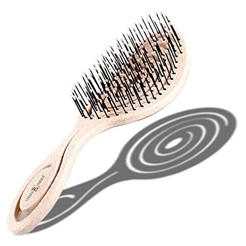 CHIARA AMBRA® Bio Haarbürste mit Stroh, Klimaneutral, ohne Ziepen, Entwirrungsbürste (beige)