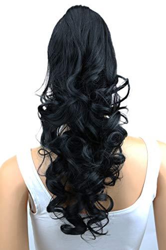 Prettyshop Haarteil, Pferdeschwanz, Haarverlängerungen, gewellt, hitzebeständig, 60 cm. nero # 1 H8